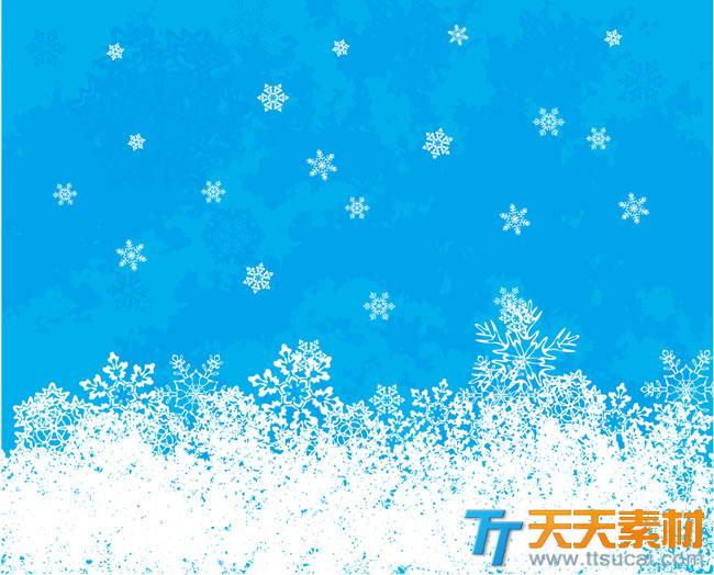 白色雪花背景矢量图下载-白色冰晶蓝色背景矢量素材