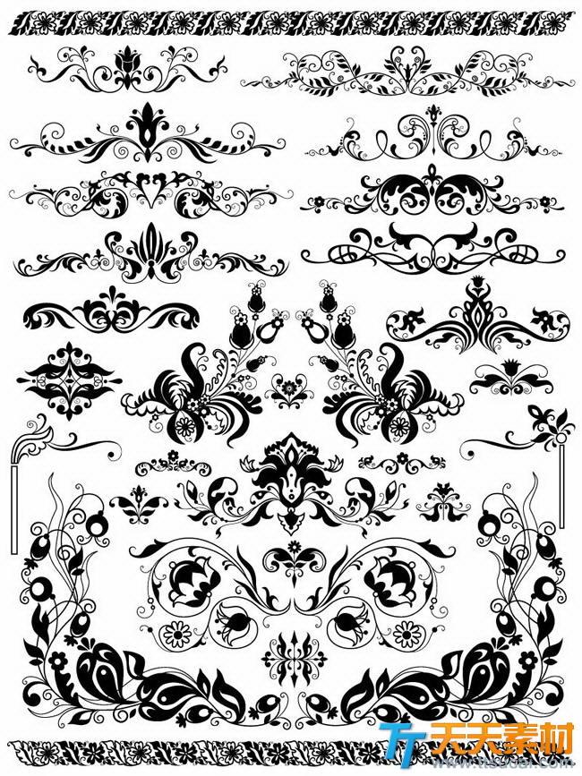 黑色欧式装饰花纹矢量素材