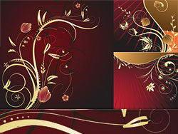 欧式暗金色花朵花纹矢量素材下载