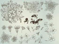 线描花朵图案矢量素材