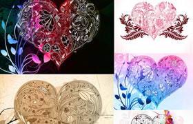时尚心形花纹元素EPS矢量素材