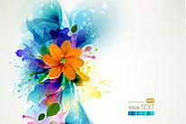 绚丽时尚潮流花纹光晕花朵矢量素材02