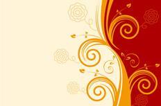 橙色花纹花卉背景矢量素材
