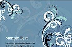 优雅蓝色复古花纹背景矢量图