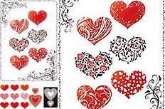 浪漫情人节心形花纹矢量素材
