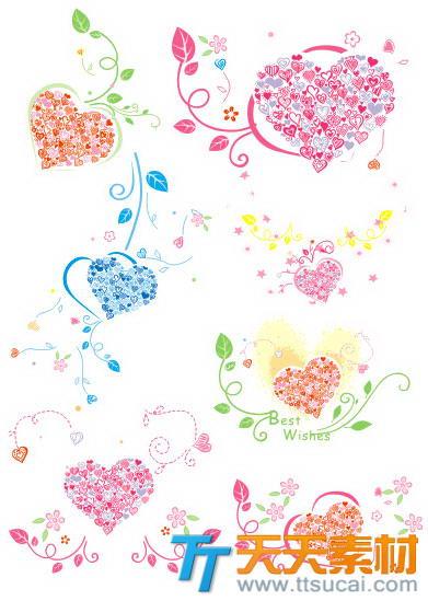 彩色爱心碎花花纹矢量素材