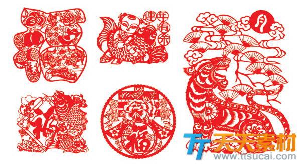 中国春节窗花剪纸矢量素材
