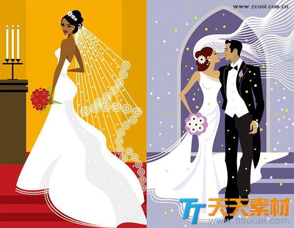 西式婚礼插图矢量素材