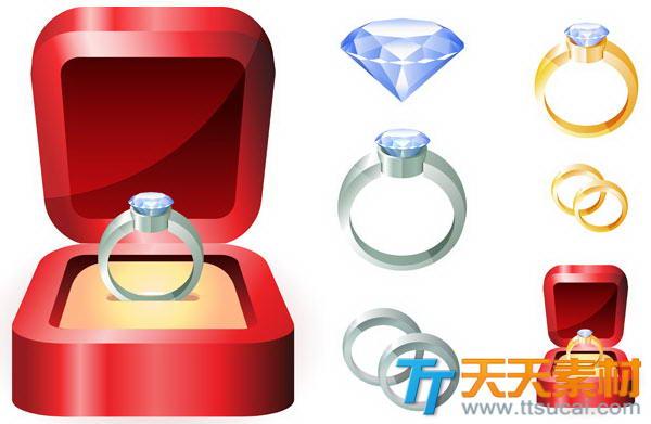 求婚钻戒金戒指盒矢量素材下载