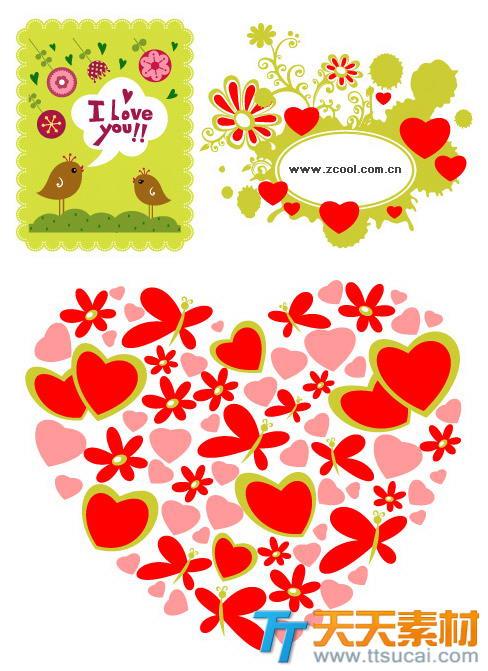 3款可爱小女生爱情矢量素材