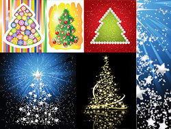 5种风格彩色发光圣诞树矢量素材