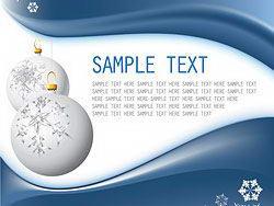 蓝色圣诞节挂球雪花卡片矢量素材