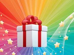 带蝴蝶结的礼物盒光线星星矢量素材