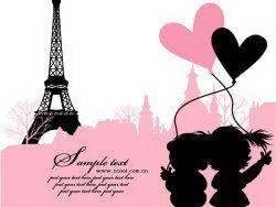 法国巴黎铁塔浪漫爱情矢量素材