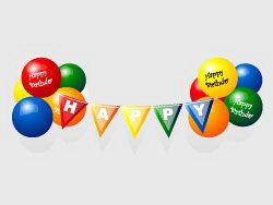 生日派对彩色气球彩旗矢量素材