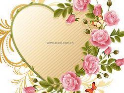 粉红玫瑰花蝴蝶心形喜帖矢量素材