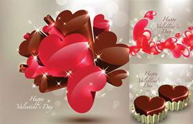 情人节立体心型巧克力EPS矢量素材