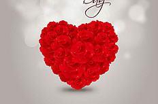 精美心形玫瑰插画矢量素材