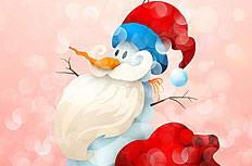 可爱雪人圣诞老人插画矢量素材