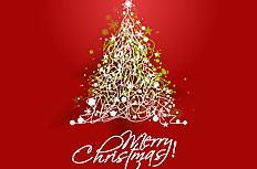 创意圣诞树红色背景矢量素材