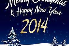 2014蓝色圣诞雪夜海报矢量素材