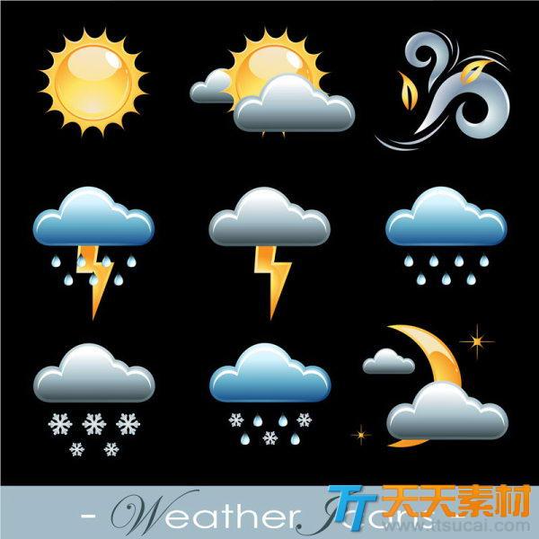 精致手机天气预报图标矢量素材