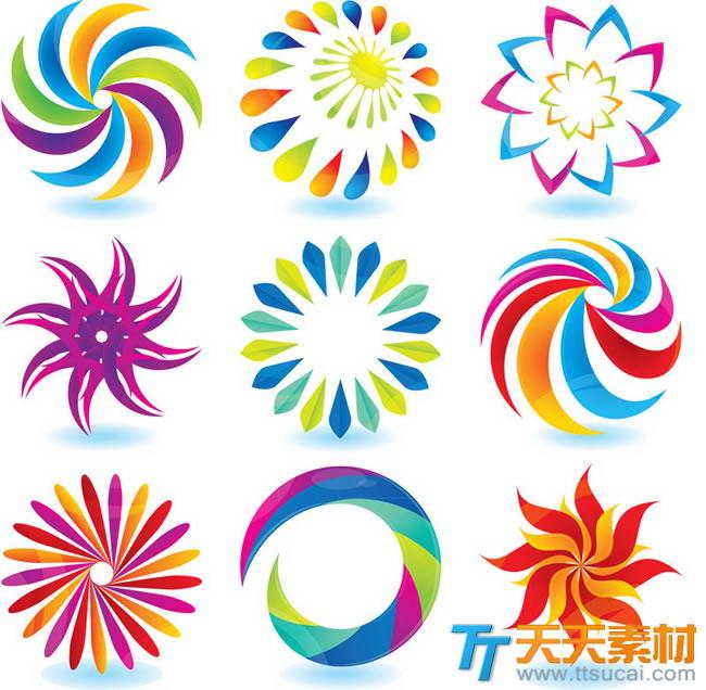 精美七彩花朵图标矢量素材