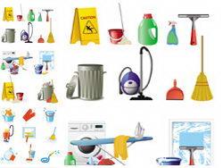 家庭清洗保洁工具图标矢量素材