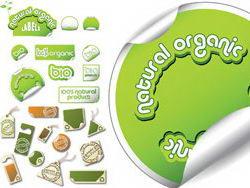 绿色无公害有机食品矢量图标标签