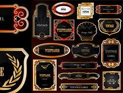 欧式古典镀金贴标l矢量素材