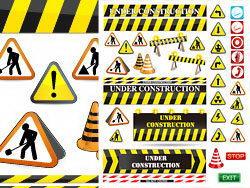 常用道路警示标识矢量素材