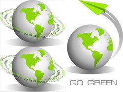 绿色环保地球图标矢量素材
