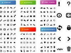 黑白web简易图标集矢量素材下载