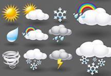 立体卡通天气图标矢量素材