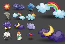 卡通天气图标矢量素材